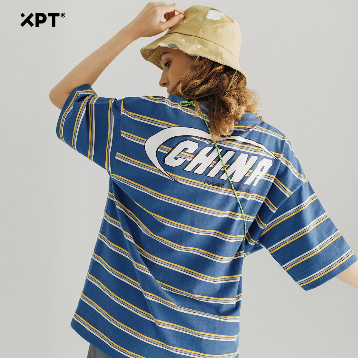 XPT潮牌条纹短袖T恤情侣装男2020新款潮流宽松半截袖体恤男装上衣