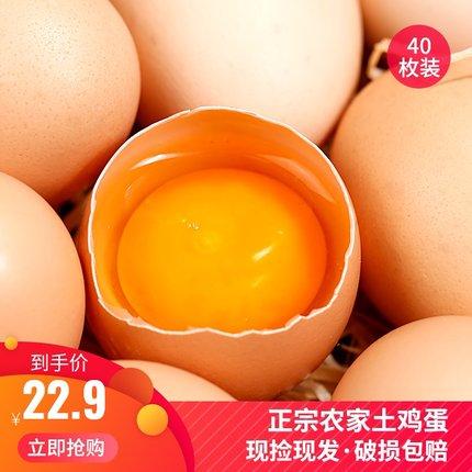 果峰山土鸡蛋40枚农家散养新鲜纯农村自养天然草鸡蛋柴鸡蛋笨鸡蛋