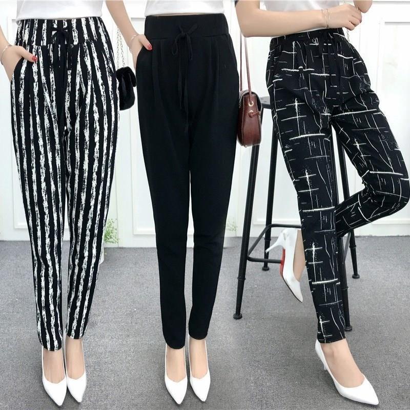 Vertical stripe pants womens pants 2020 new summer thin casual pants loose large slim polyester Harlan pants