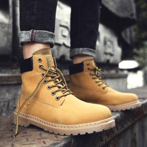 大黄靴男马丁靴冬季黄色高帮男鞋工装靴男靴中帮靴子踢不烂短靴男