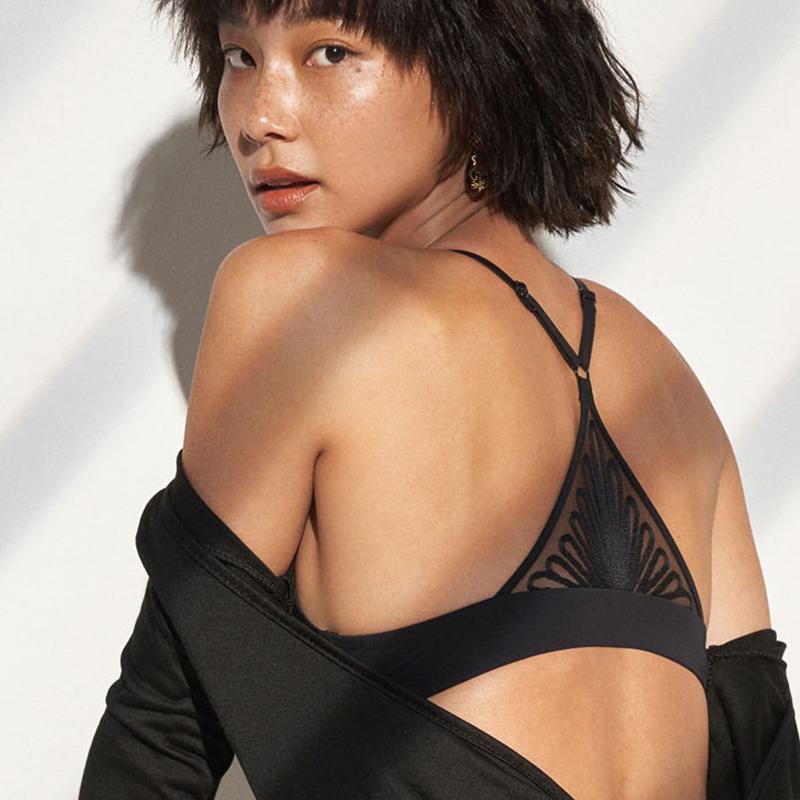 爱慕NYC几何蕾丝美背前扣文胸无钢圈聚拢光面薄厚款2选舒适内衣女