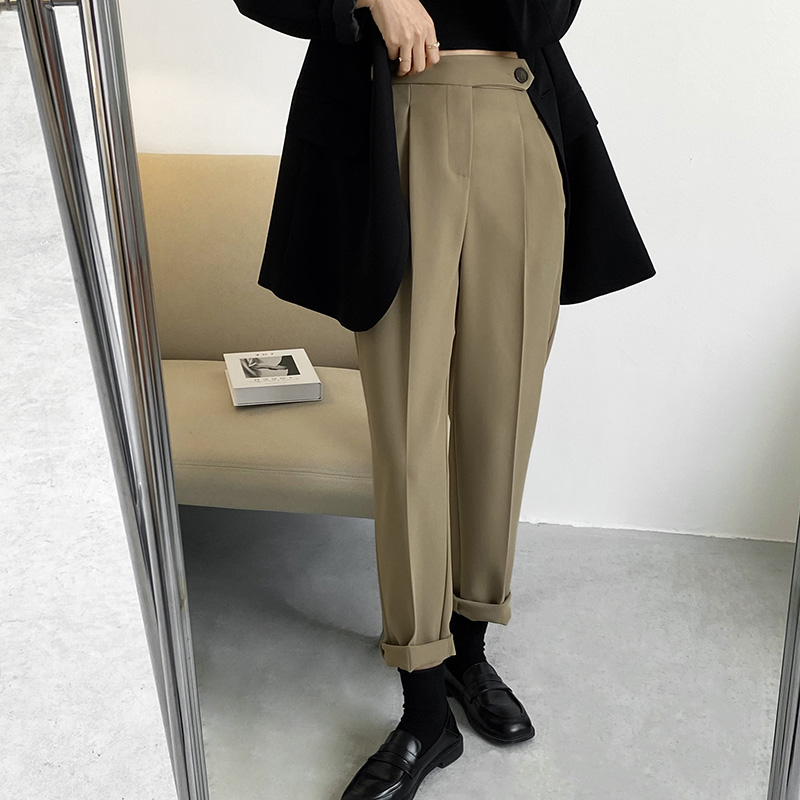 Casual suit pants womens 2021 spring new Korean loose thin solid elastic high waist straight pipe pants