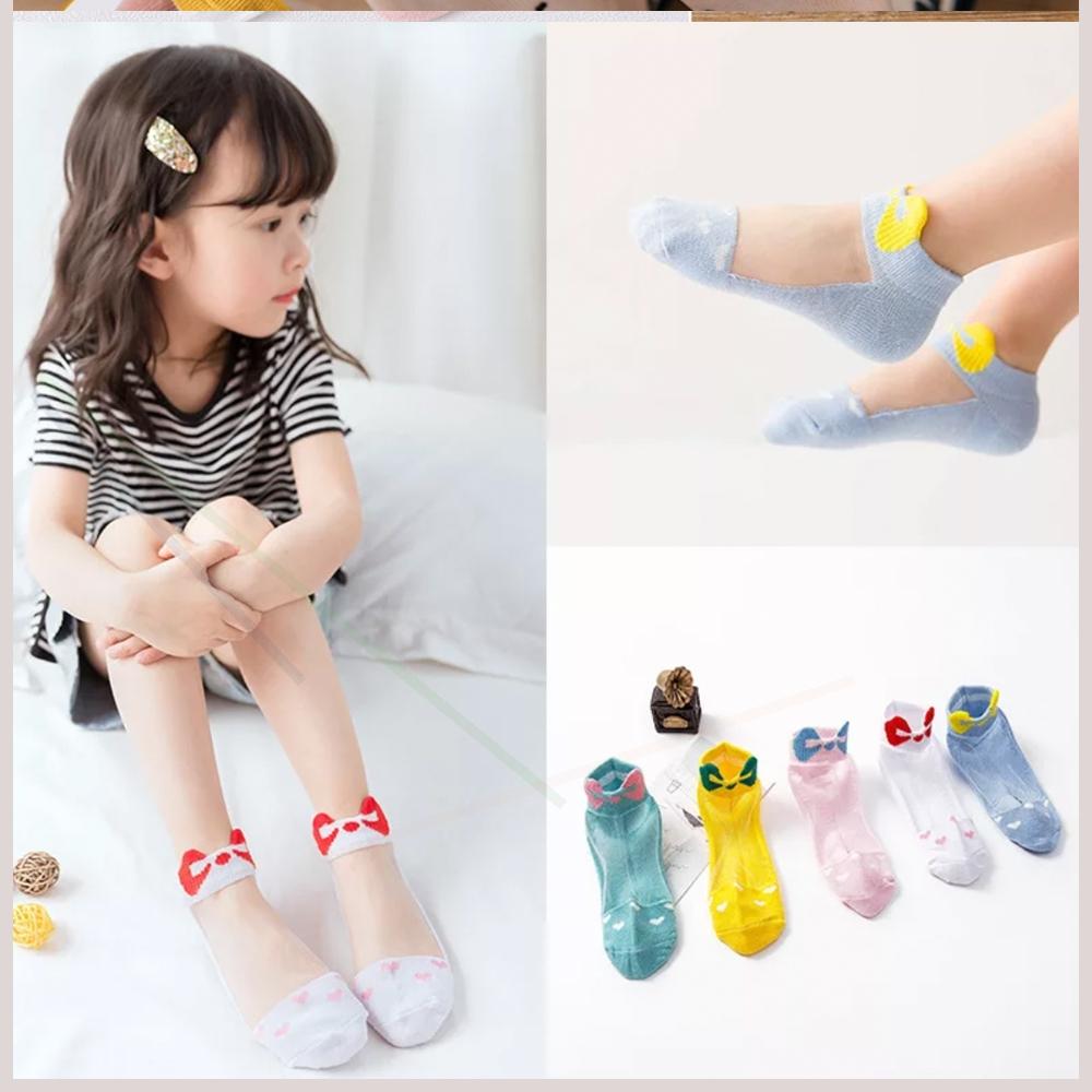 儿童水晶袜子女童棉船袜夏季薄款宝宝卡通冰丝袜男童玻璃丝短袜