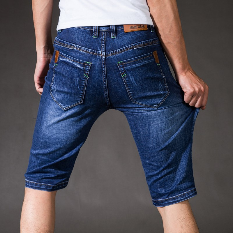 Summer thin high elastic denim shorts mens loose five pants middle age seven mens pants 7 points.