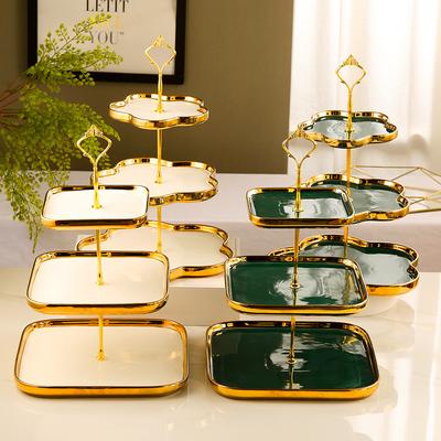 甜品台摆件展示架三层蛋糕架瓷点心盘果盘创意现代水果盘客厅家用