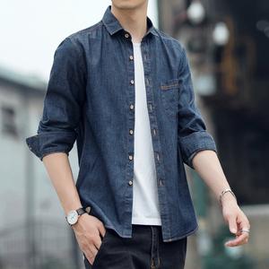 春季男士宽松牛仔长袖韩版帅气衬衫