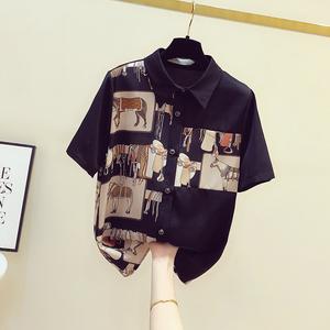 碎花雪纺女短袖2021年夏季新款衬衫