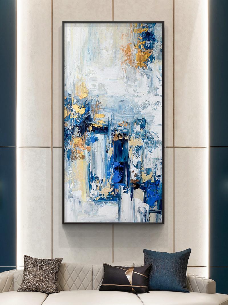 客廳大幅立體掛畫進門豎現代輕奢壁畫純手工繪抽象油畫玄關裝飾畫