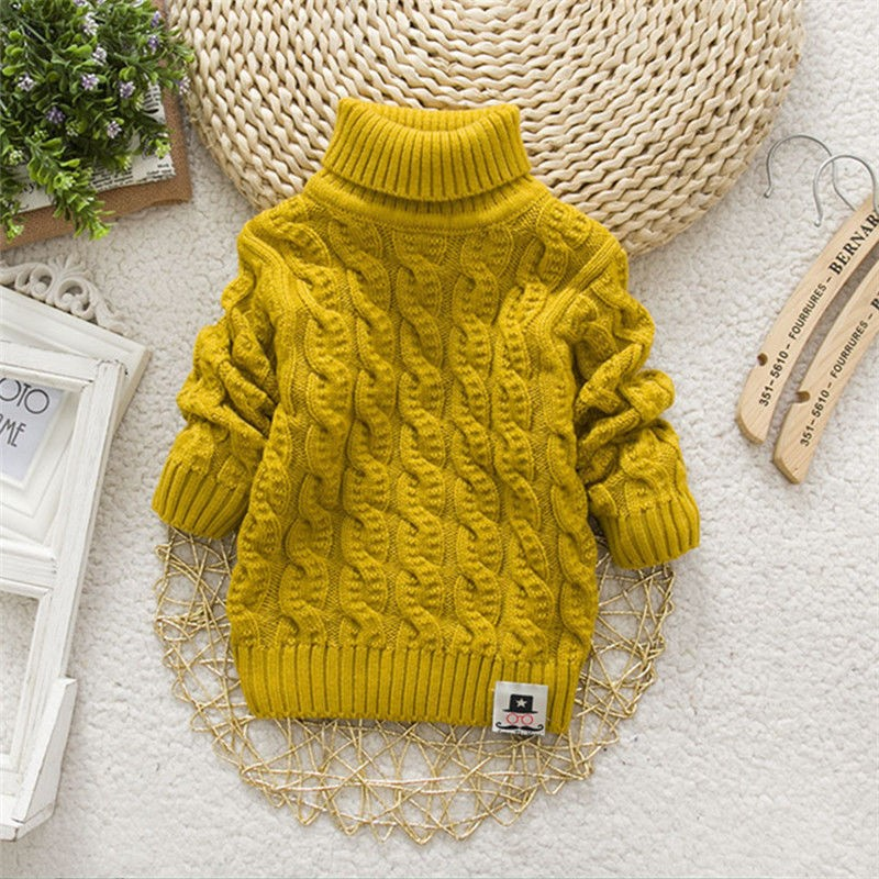 Autumn and winter new middle and small childrens sweater boys and girls high and low neckline Pullover thickened Plush solid color knitting bottom coat