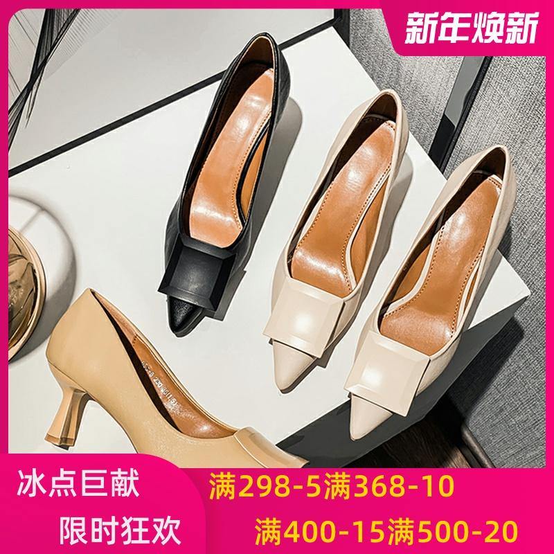 官方旗舰店女鞋中跟尖头软皮高跟鞋真皮单鞋女职业工作鞋TATADou