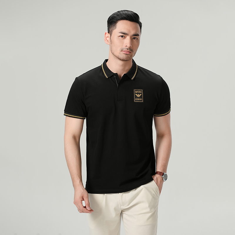 Armani Armani Men Polo Shirt Business Casual Black Gold Standard Color Lady Short Sleeve T-Shirt