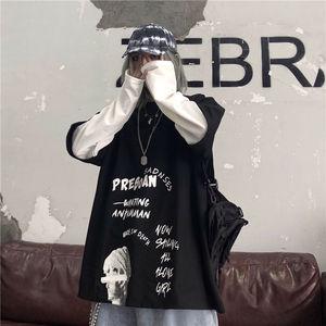 假两件女韩版ins原宿风街头复古字母印花假两件宽松长袖T恤学生女
