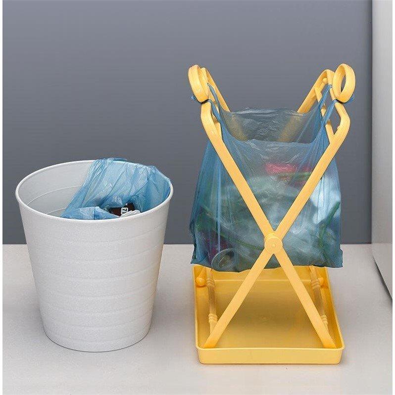 Foldable garbage rack with tray plastic bag storage support kitchen garbage can large handbag garbage bag hanger