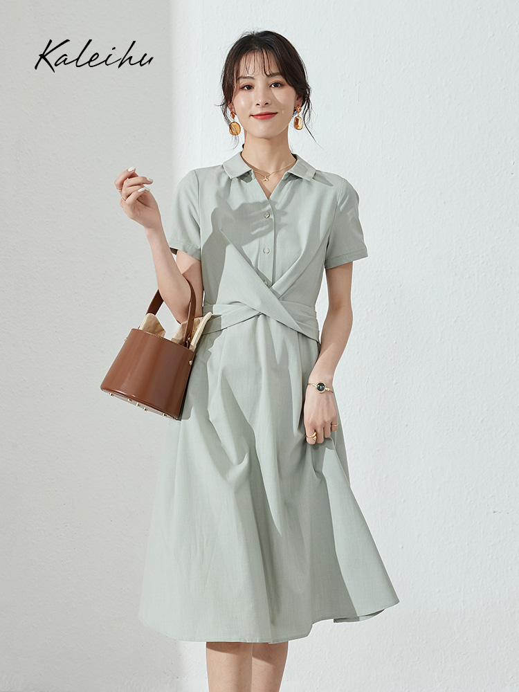 Temperament slim fit cover belly shirt V-neck Platycodon commuting simple cross knot French Hepburn dress