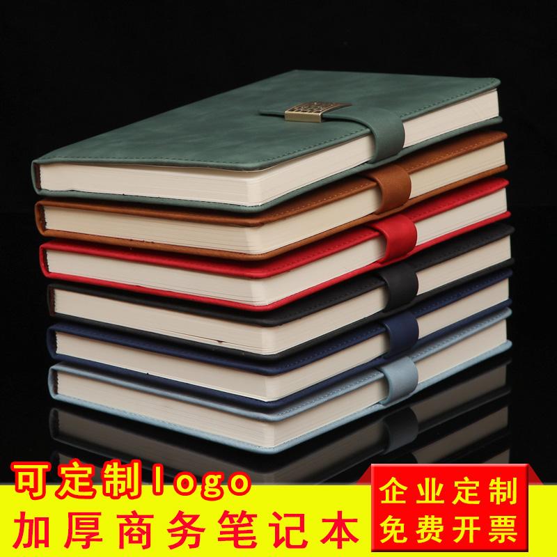 笔记本本子a5加厚磁扣硬皮商务会议记事本文艺精致b5大学生简约日记本办公文具定制红黑软皮本礼盒装可印logo
