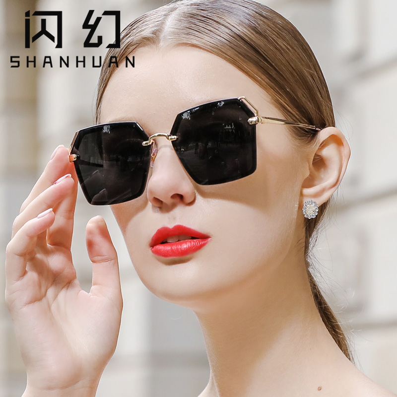 Flash Sunglasses female ins big face thin Korean fashion personality Sunglasses female anti ultraviolet round face polarizing glasses