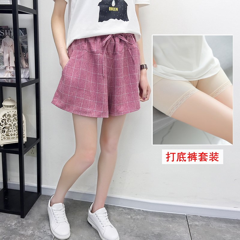 Korean lace up loose size wide leg casual Plaid womens five point shorts color plaid pants womens new 2019