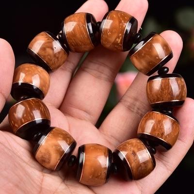 高档新进代男女念珠羊角天然库克镶嵌紫檀佛珠文玩手串手链款海椰