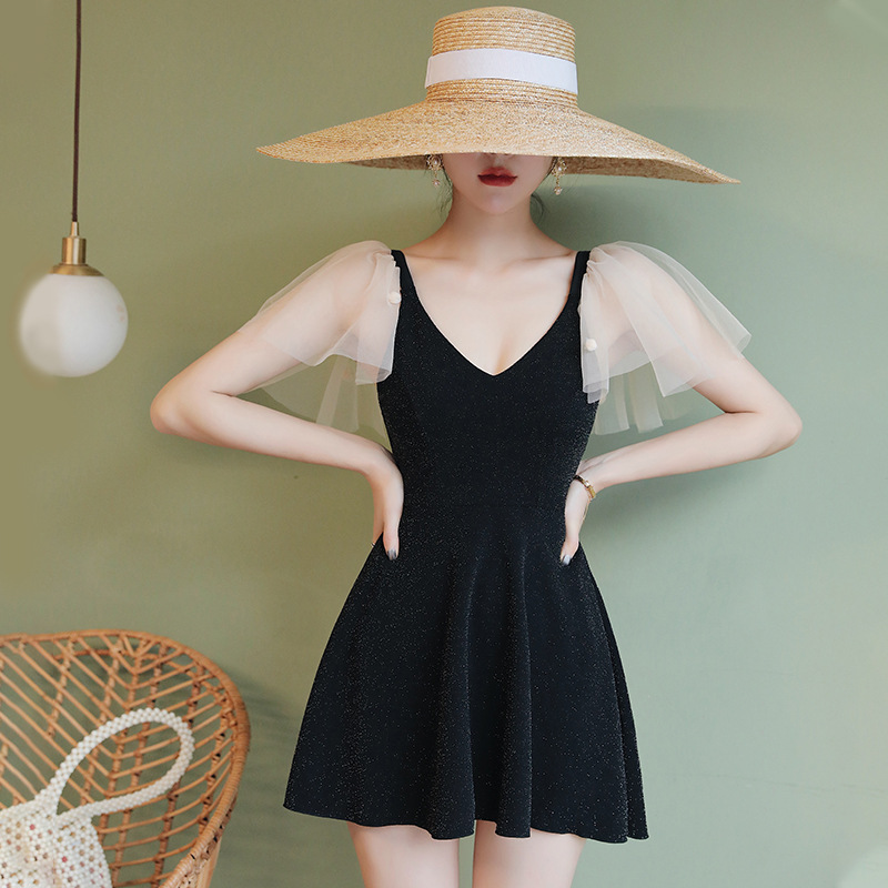 Black one-piece womens bathing suit and skirt set 10 Pack