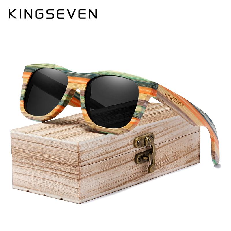 KINGSEVEN手工竹木太阳眼镜户外复古全木框韩版驾驶开车偏光镜