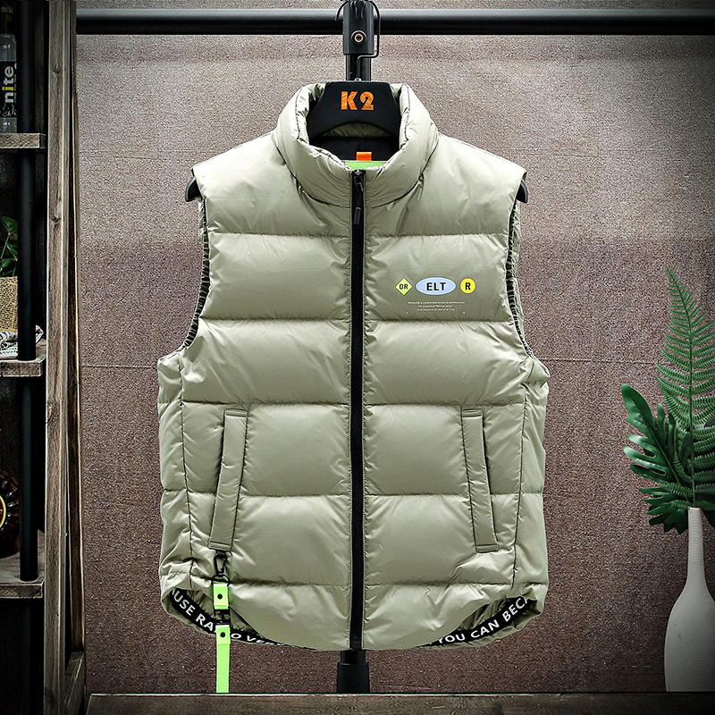 Down vest men's 2020 winter plus down warm vest Korean version of the tide youth white duck down thick vest jacket