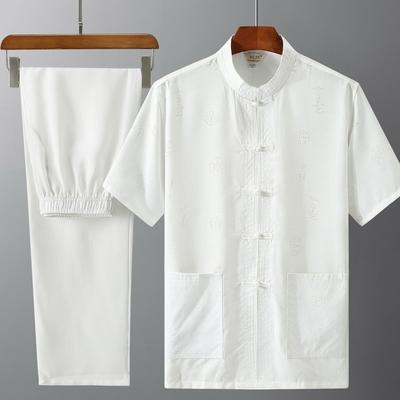 2020唐装男爸爸短袖套装中国风薄款中老年人亚麻爷爷夏装老人衣服