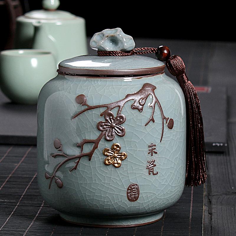 原源哥窑茶叶罐陶瓷茶罐家用密封罐茶叶储存罐复古大号普洱茶叶盒