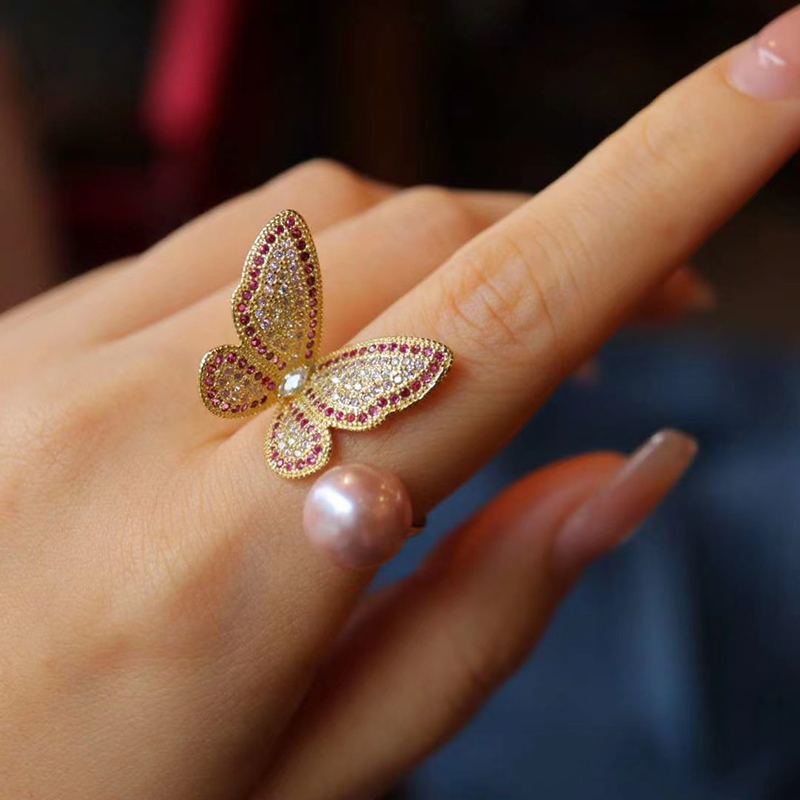 Seiko original design customized S925 silver gilded natural pearl open butterfly left hand ring