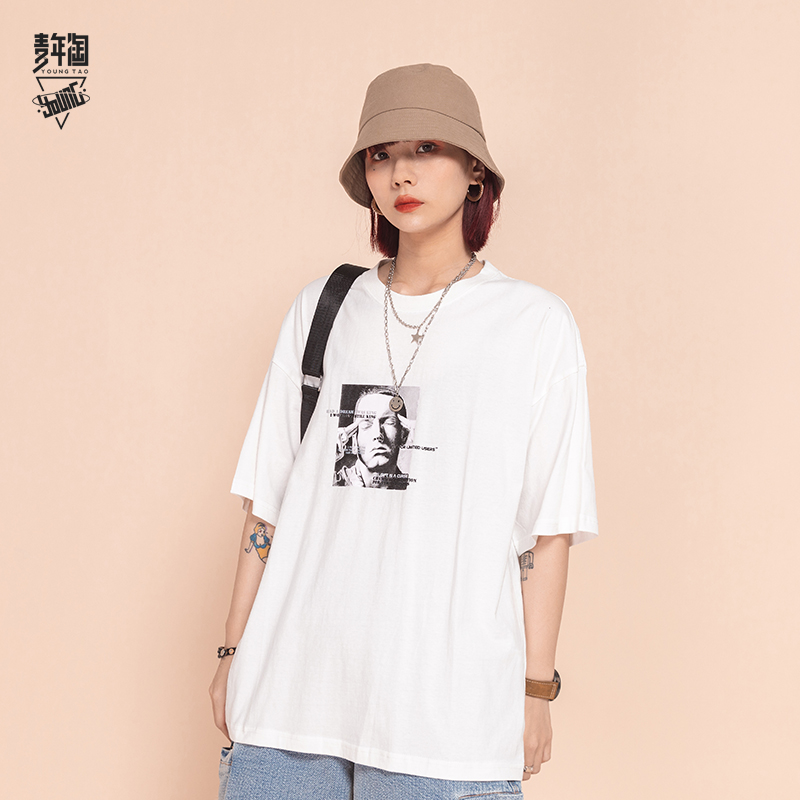 Young Amoy hip hop Godfather Eminem printed t-shirt mens trend loose short sleeve summer lovers style 5-sleeve fashion
