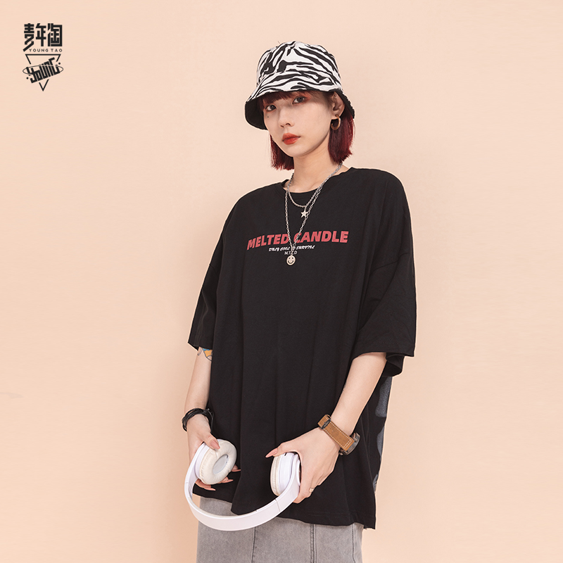 Youth baseball cap youth back printed T-shirt lovers loose trend short sleeve summer national trend Quarter Sleeve