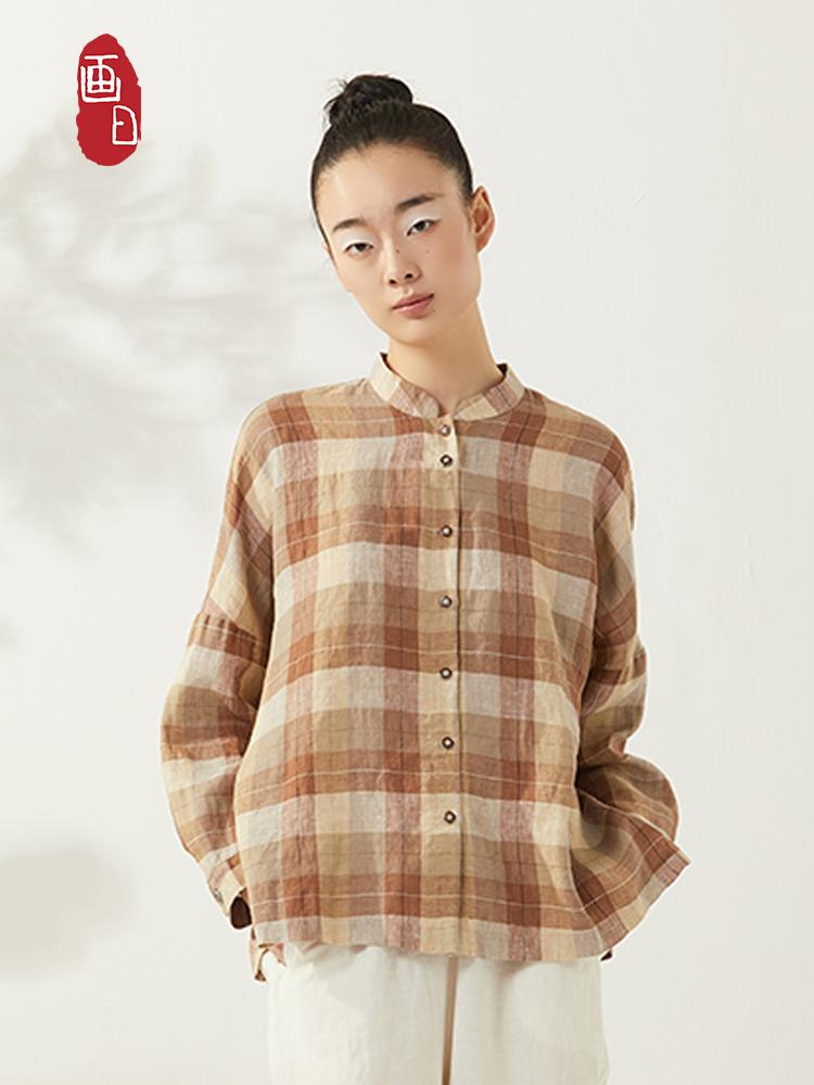 Huari spring linen Plaid Shirt short literary retro Linen Shirt round neck Plaid Shirt raglan sleeve