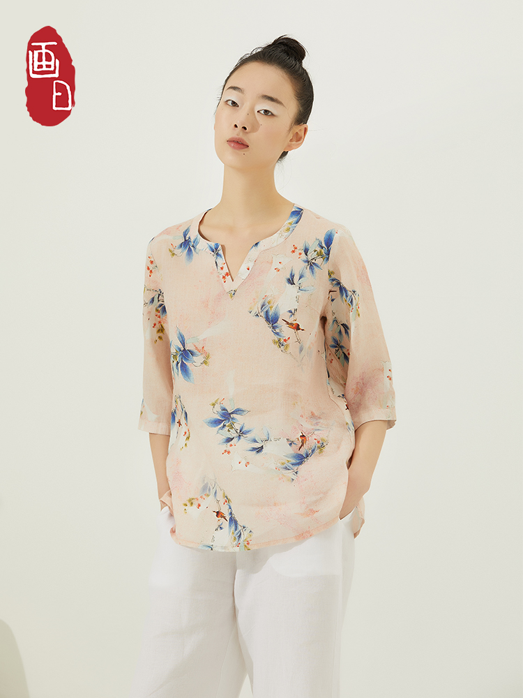 Painted day V-neck printed top short 3 / 4 sleeve linen printed Top Shirt womens loose