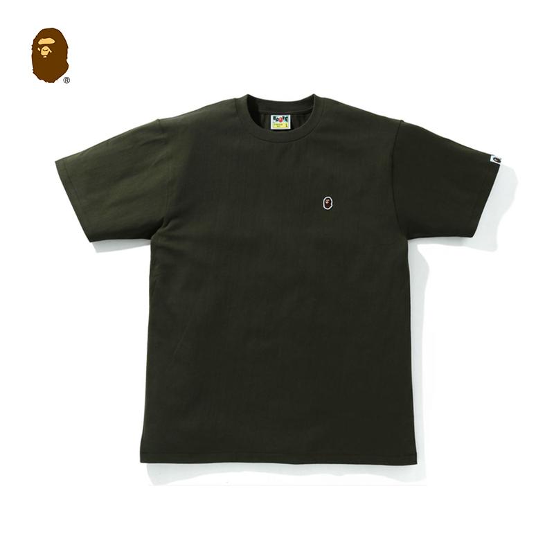 BAPE男装春夏猿人头刺绣徽章纯色短袖T恤11029XG
