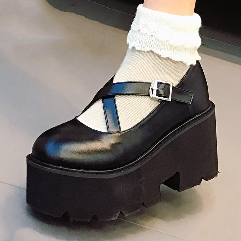 百搭玛丽珍洛丽塔松糕鞋原宿厚底单鞋女jk高跟小皮鞋日系软妹增高