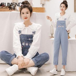 牛仔背带裤女中学生小清新2021年新款韩版宽松直筒可爱连体裤套装
