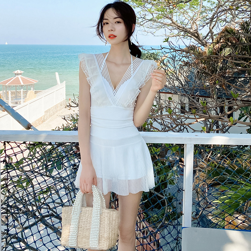 One piece swimsuit womens belly covered show thin sexy 2020 new fashion South Korean ins fairy fan conservative swimsuit