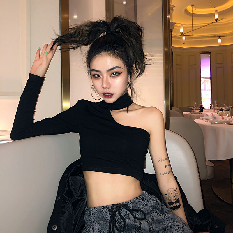 Womens trampy Hong Kong Style Sexy European and American style tight short high waist navel t-shirt female minority sexy nightclub black