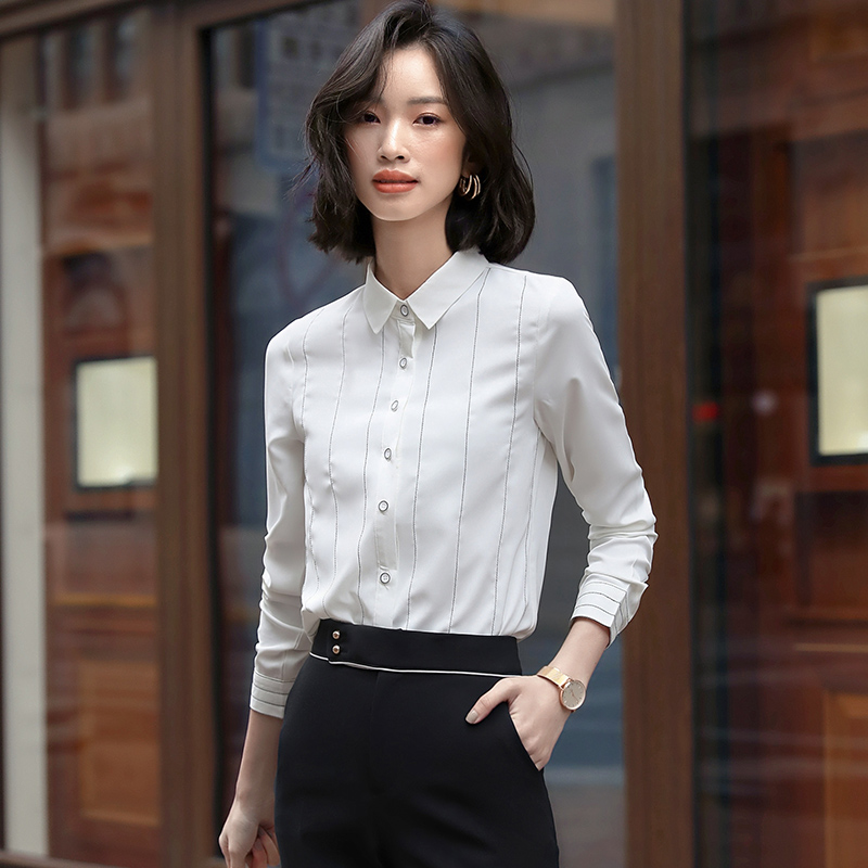 Professional shirt womens striped temperament casual versatile foreign style 2020 new autumn and winter long sleeve womens Shirt Top