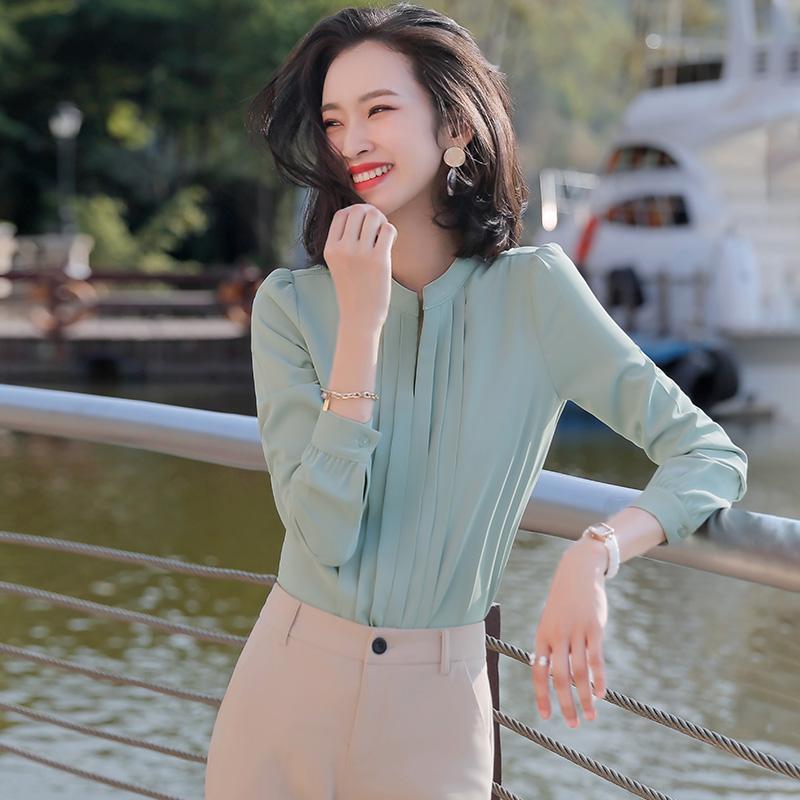 白色雪纺衬衫女长袖2020秋冬季新款上衣气质时尚休闲百褶V领衬衣
