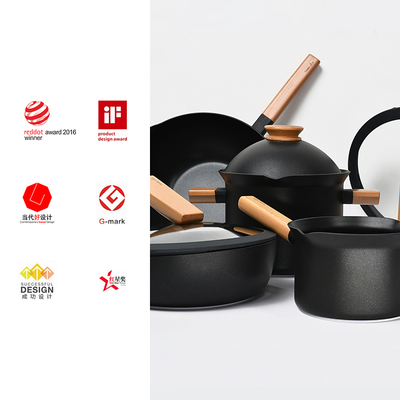 [same style of dear Inn] Yuewei pot set detachable creative flat bottom non stick household cooking pot