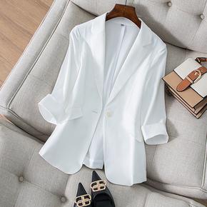 白色天丝亚麻小西装外套女春夏薄款韩版修身显瘦气质女士西服上衣