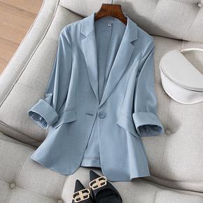 天丝亚麻小西装外套女七分袖春夏新款韩版气质修身显瘦西服女上衣