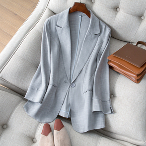 天丝亚麻小西装外套女2021春夏新款韩版修身显瘦休闲气质西服上衣
