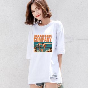 2020年新款夏季宽松中长款白色短袖t恤女潮ins超火网红半袖上衣服