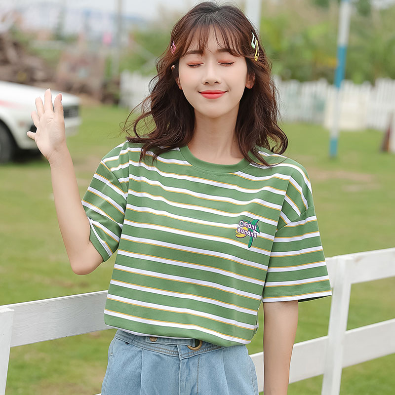 Solid color short sleeve T-shirt for women summer 2020 new top womens loose Korean striped shirt large womens cotton T