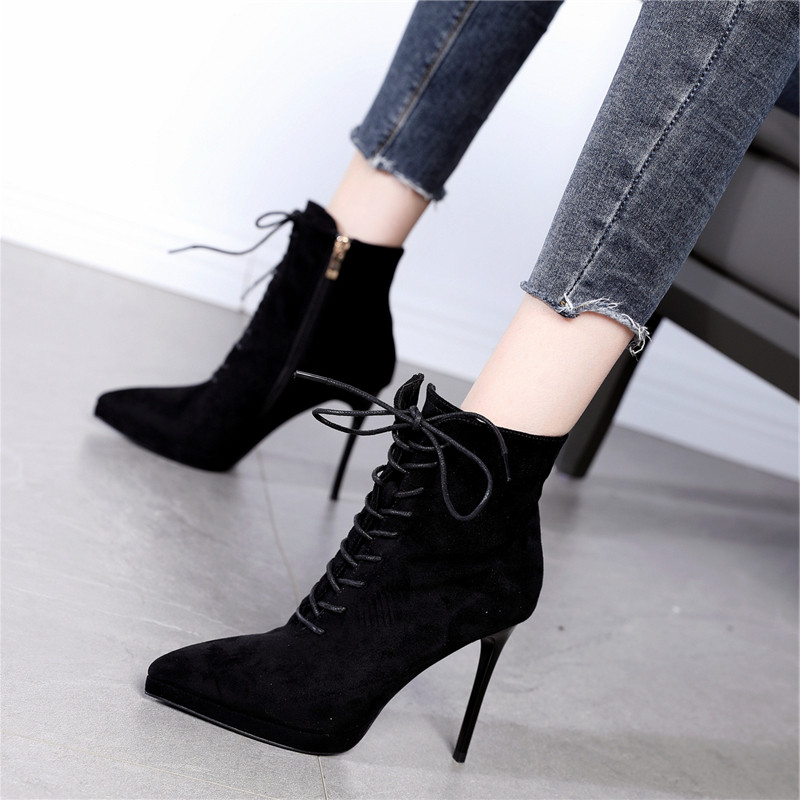 Suede front lace up fashion short boots slim heels ultra high heels womens winter new pointed and ankle boots nude Martin boots