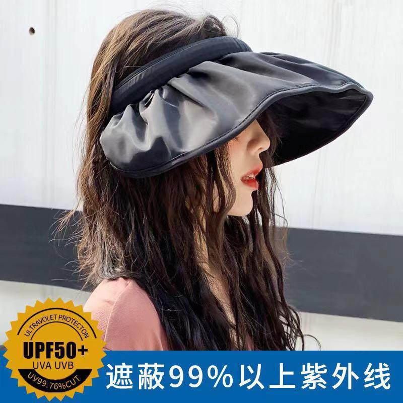韩国东大门贝壳帽女防晒遮阳百搭可折叠两用发箍空顶帽子太阳帽