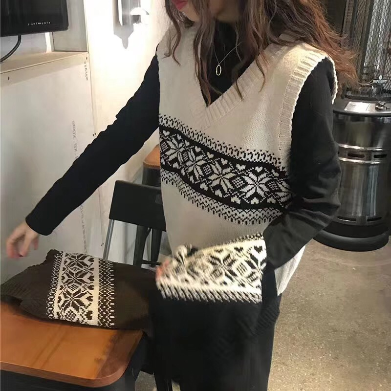 Jiajian womens net red 100 with V-neck loose retro pattern vest sweater womens sleeveless camper student coat