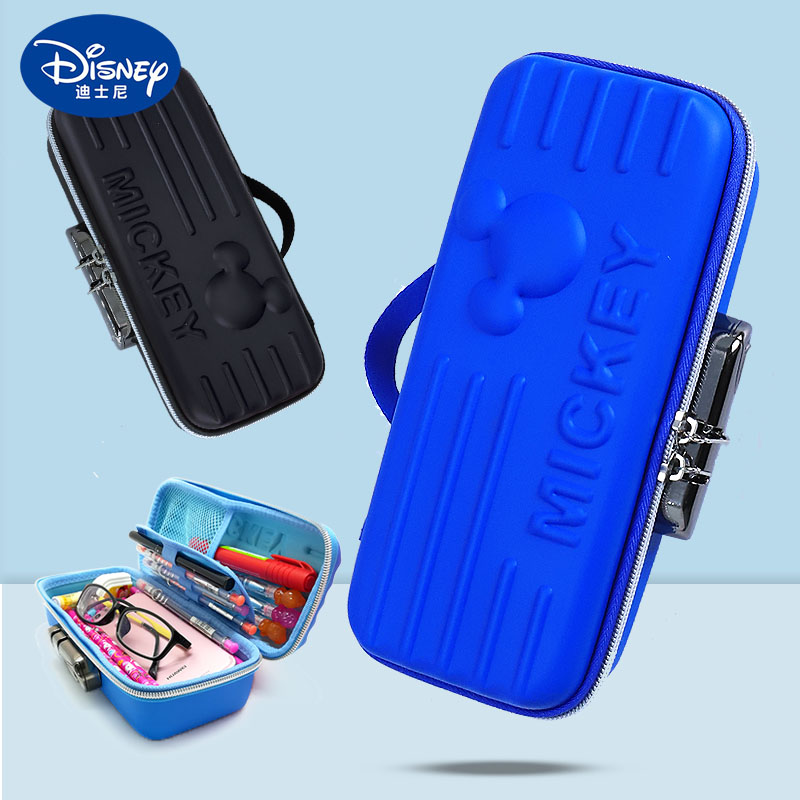 Disney pencil case boys and girls large capacity primary school students multifunctional stationery bag boys and girls code lock stationery case childrens simple pencil bag