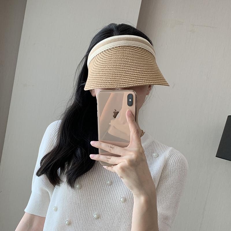 帽子女夏天雪梨同款空顶草帽遮阳帽户外露顶鸭舌帽沙滩太阳帽